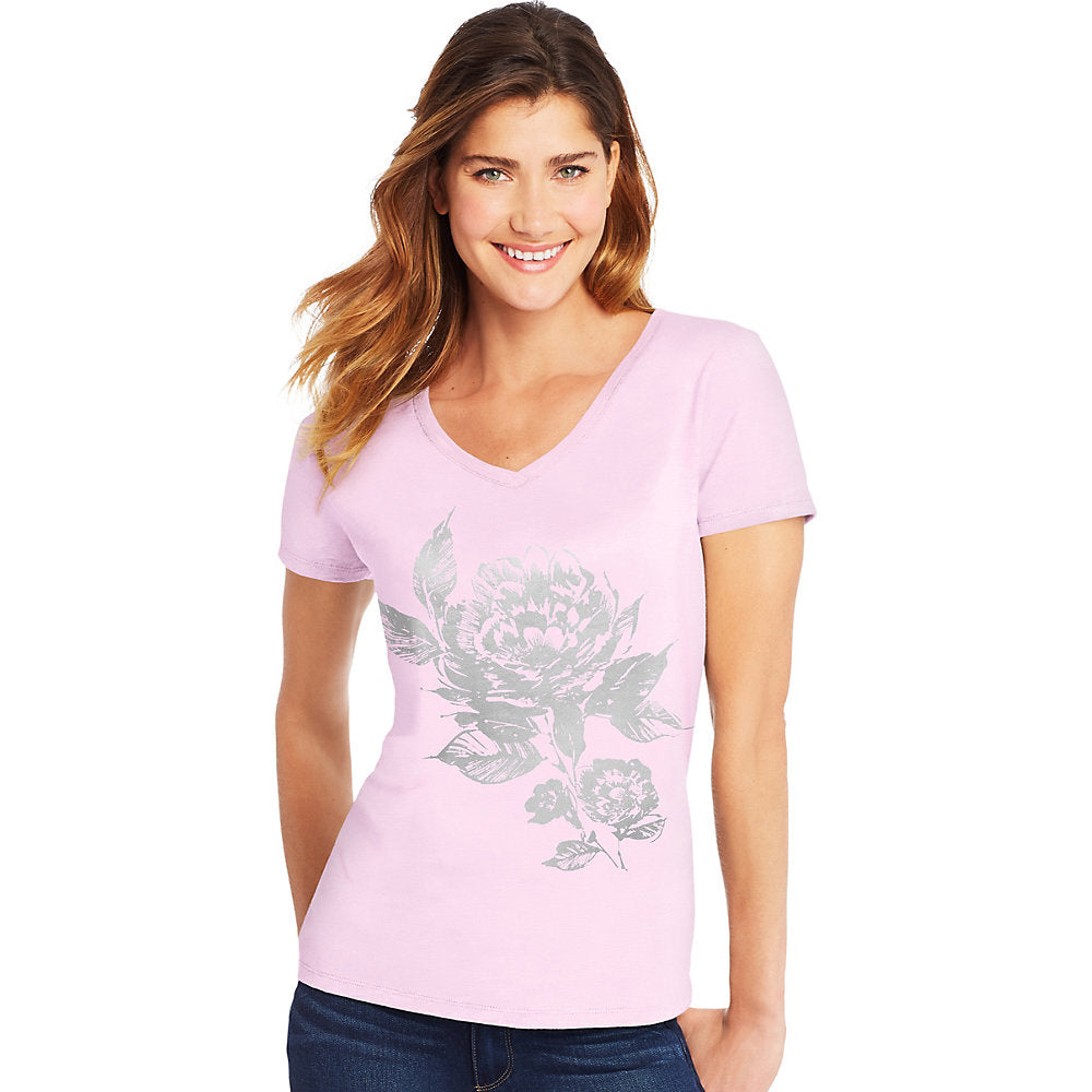 Hanes Women's Floral Semplice Short-Sleeve V-Neck Graphic Tee - GT9337 Y07647