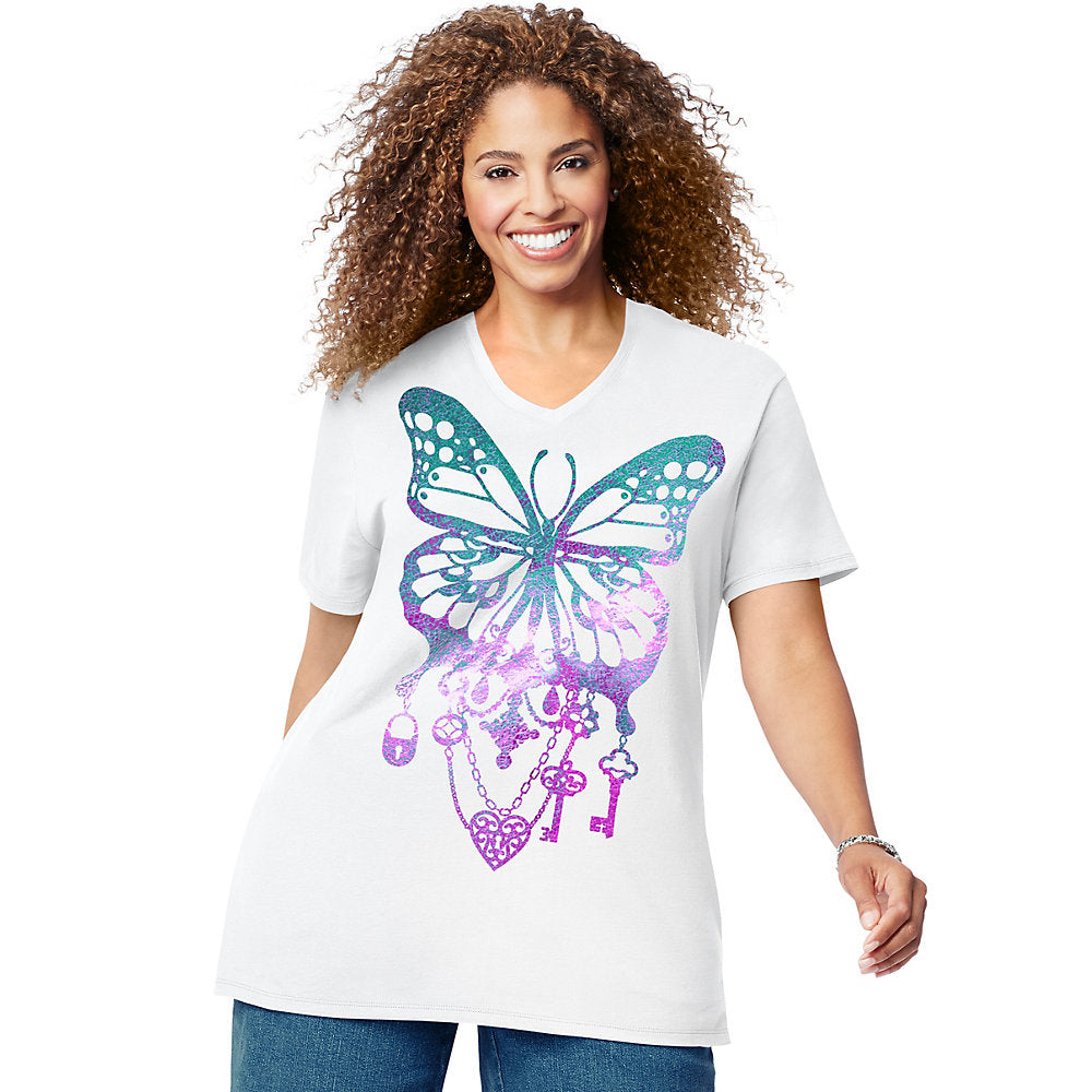 JMS Bedecked Butterfly Short Sleeve Graphic Tee - GTJ181 Y07188