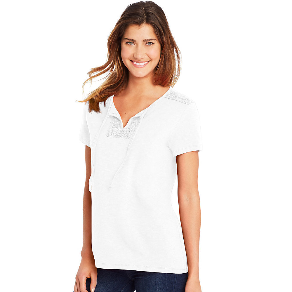 Hanes Women's Tie Front Henley with Crochet Trim - O9353
