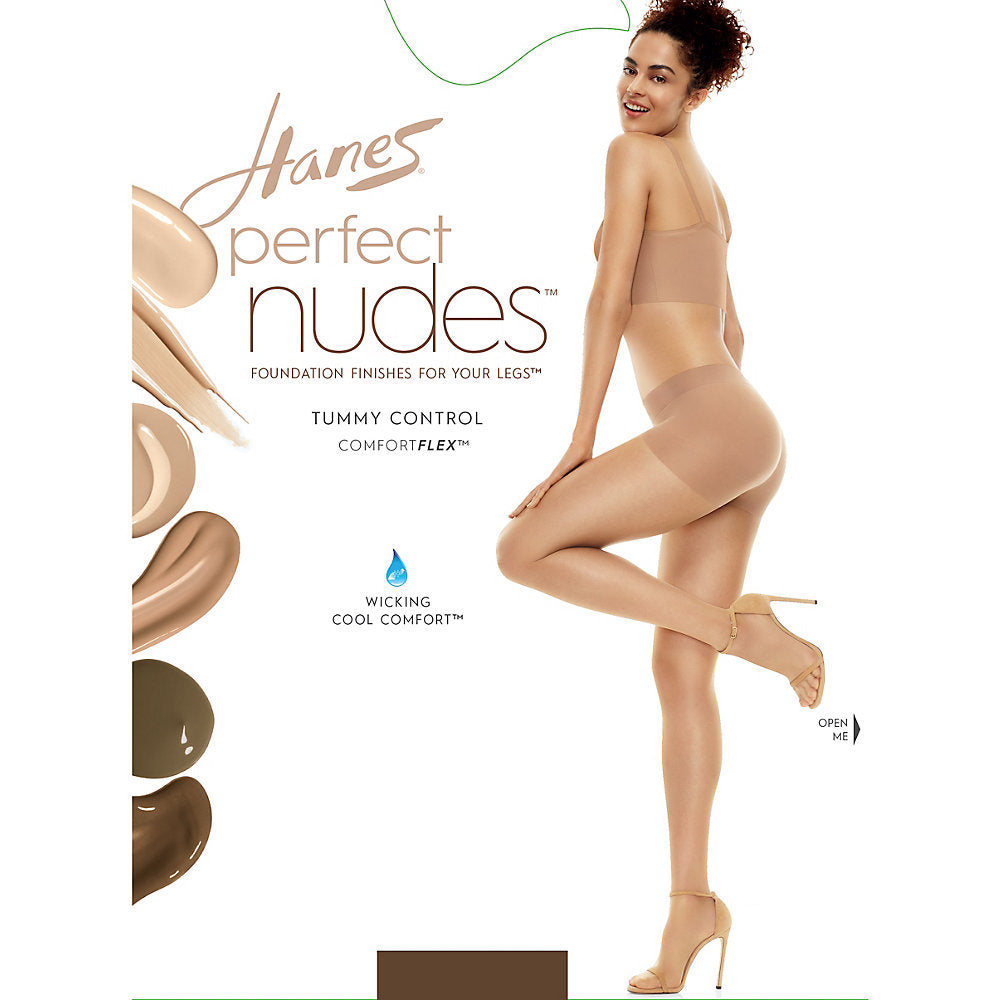 Hanes Perfect Nudes Run Resistant Tummy Control Girl Short Hosiery - PN0001