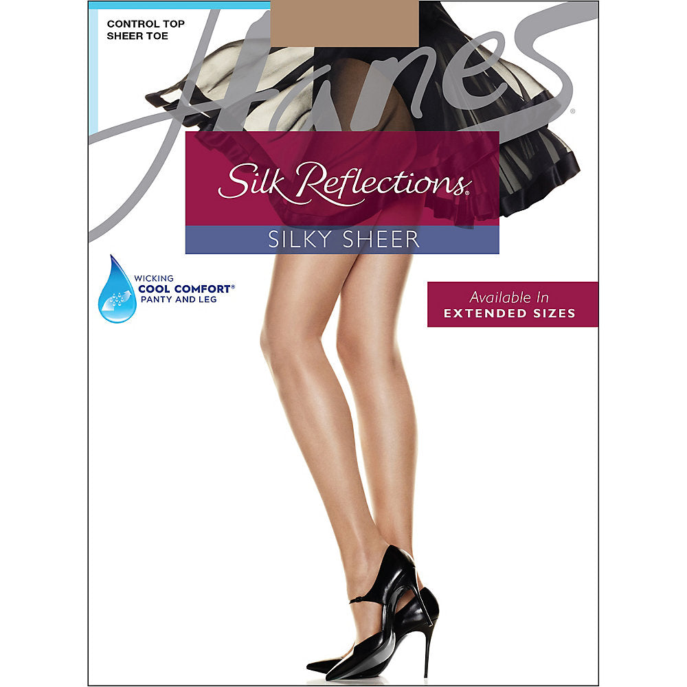 Hanes Silk Reflections Control Top Sheer Toe Pantyhose - 717