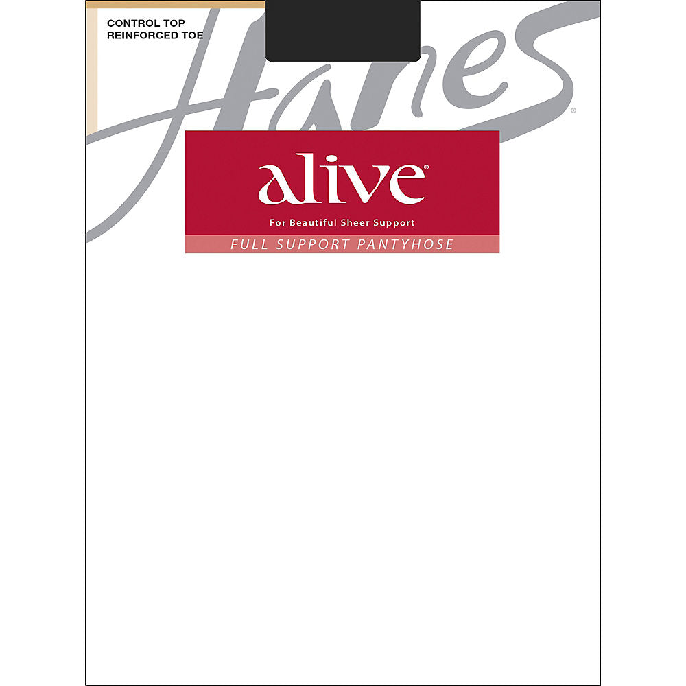 Hanes Alive Full Support Control Top Reinforced Toe Pantyhose - 810