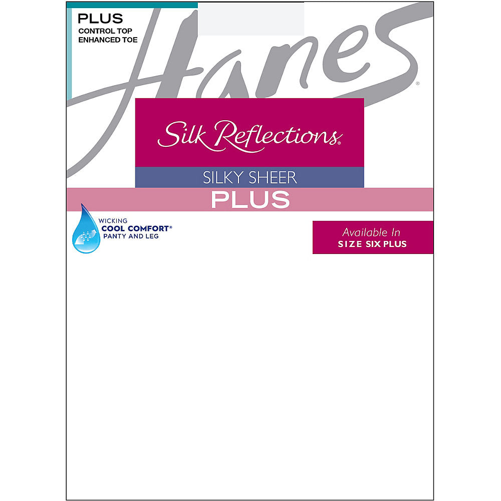 Hanes Silk Reflections Plus Sheer Control Top Enhanced Toe Pantyhose - 00P16