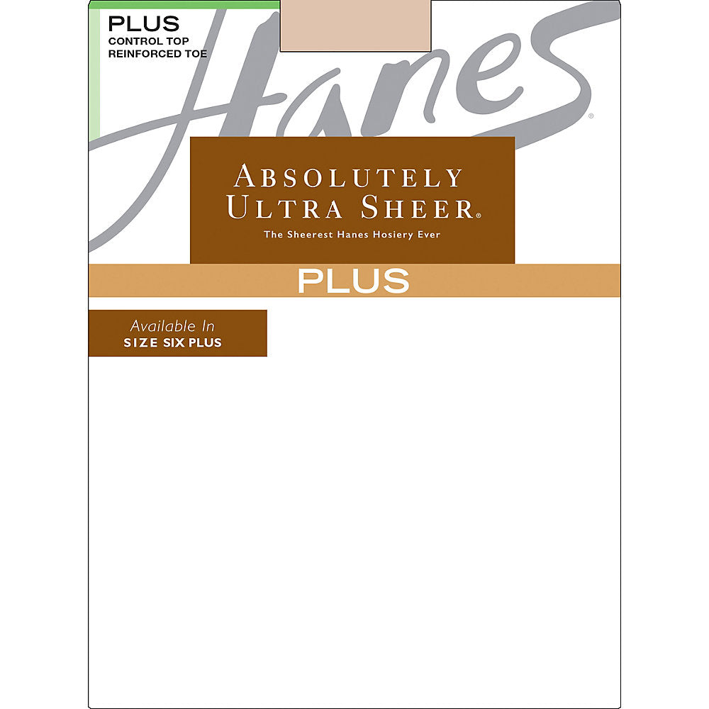 Hanes Plus Absolutely Ultra Sheer Control Top, Reinforced Toe Pantyhose - 00P30