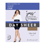 JMS Smooth Finish Regular Reinforced Toe Panty Hose 2 Pair Pack - 888R