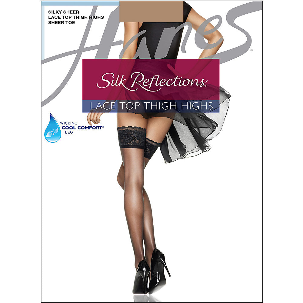 Hanes Silk Reflections Lace Top Thigh Highs - 0A444