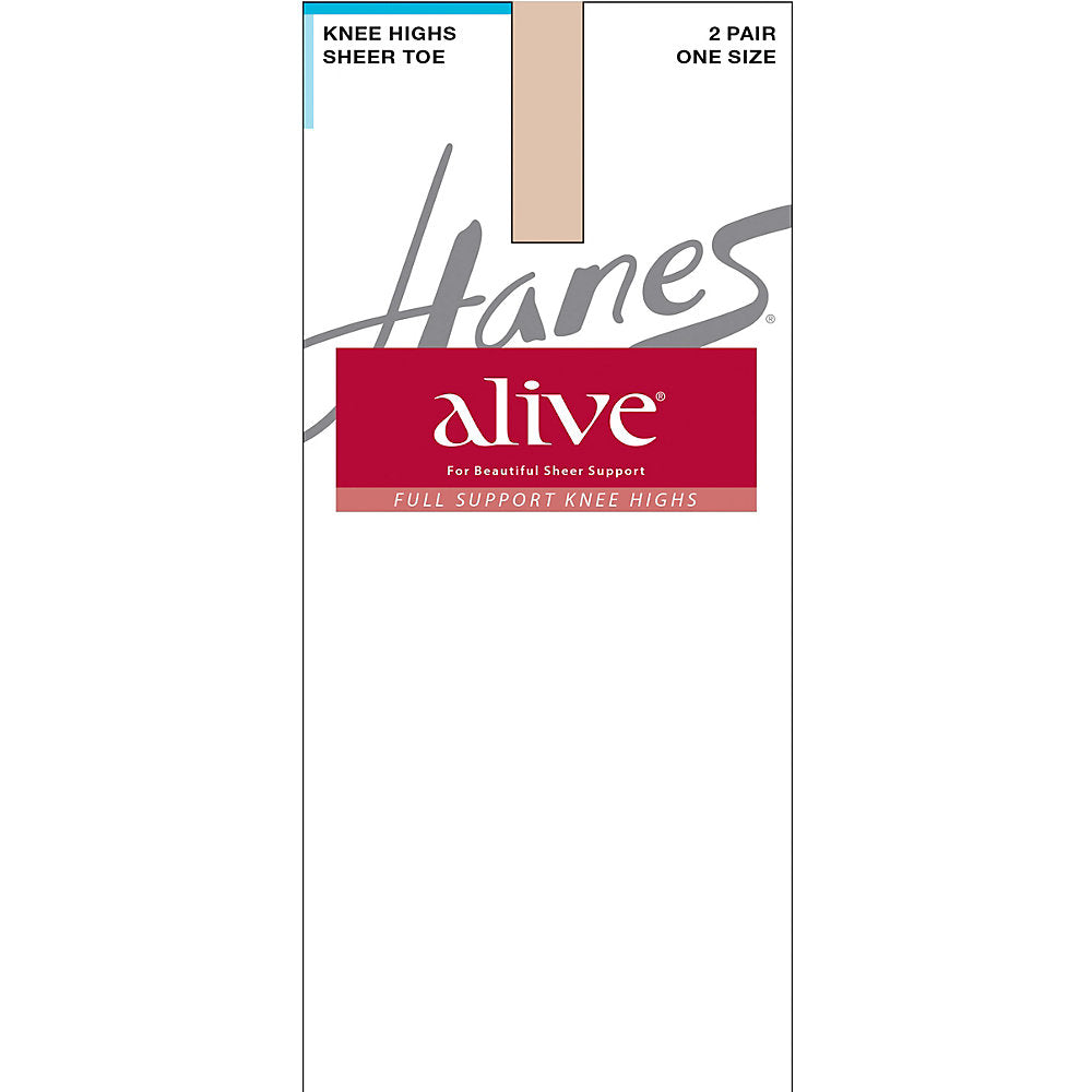 Hanes Alive Full Support Sheer Knee Highs 2-Pack - 0A446