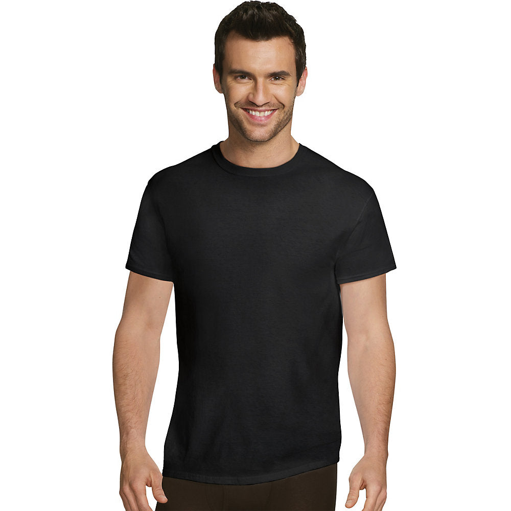Hanes Ultimate Men's Comfort Fit Ultra Soft Cotton/Modal Crew Neck Undershirt Assorted Black/Grey 4-Pack - UFT1B4