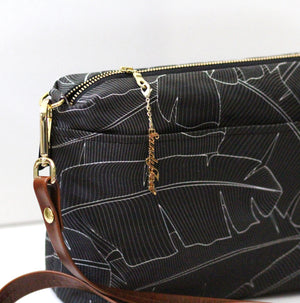 Black Banana Leaf Large Crossbody