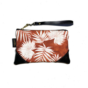 Mini Palms Rust Zipper Clutch