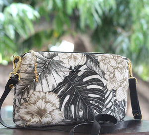 Black & White Monstera and Hibiscus Large Crossbody