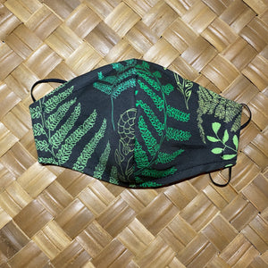 Hāpu'u Hawaiian Fern Pre-Order Face Mask w/Adjustable Ear Loops, Filter Pocket and Nose Wire