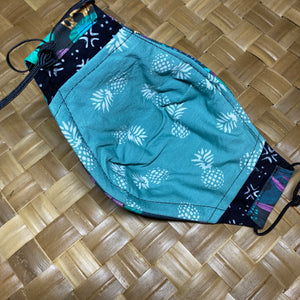 Teal Monstera Pre-Order Face Mask w/Adjustable Ear Loops, Filter Pocket and Nose Wire