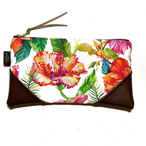 Large Blooming Hibiscus Zipper Clutch