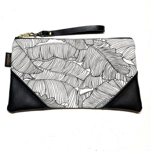 Large White Banana Leaf Paradise Zipper Clutch