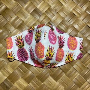 RTS Aloha Pineapple Pink & White Face Mask w/Adjustable Ear Loops, Filter Pocket and Nose Wire