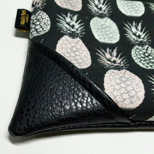 Large Pastel Lavender & Green Aloha Pineapple x Black Zipper Clutch