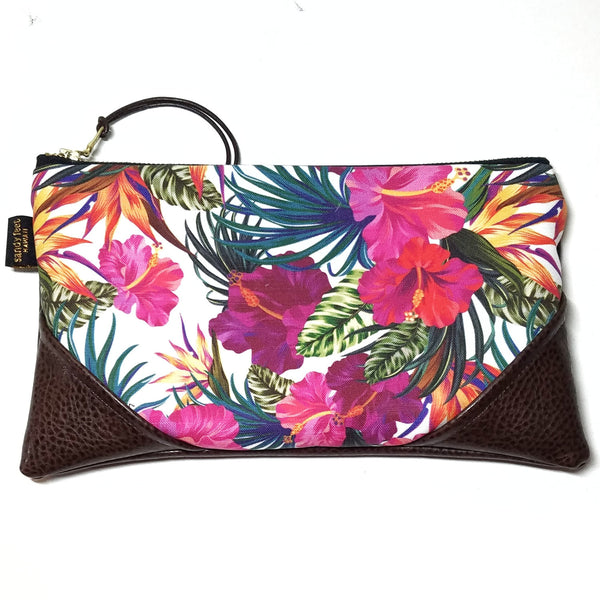 Large Garden Happiness White Zipper Clutch