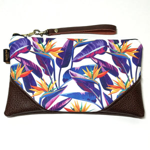 Large Bold Bird of Paradise in White Zipper Clutch