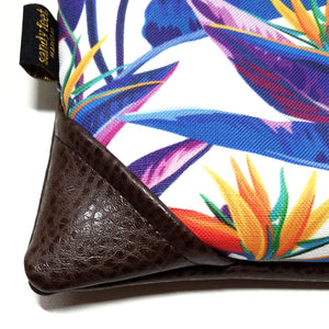 Mini Bold Bird of Paradise in White Zipper Clutch
