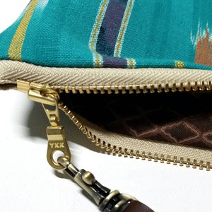 Large Turquoise Teal Ikat Zipper Clutch