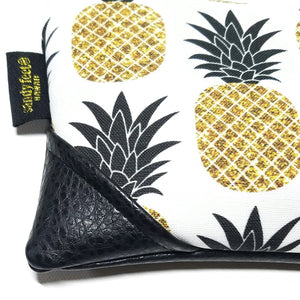 Mini Black/Black and White Sparkle Pineapple Zipper Clutch