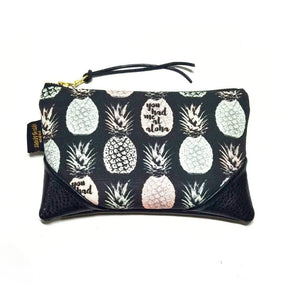 Mini Pastel Lavender & Green Aloha Pineapple x Black Zipper Clutch