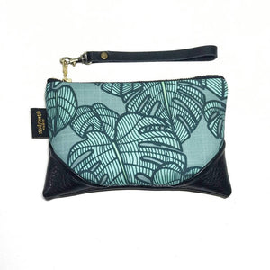 Mini Teal Monstera Zipper Clutch