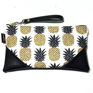 Large Black and White Sparkle Pineapple w/Black Accents Zipper Clutch