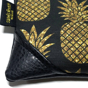 Mini Black/Black Sparkle Pineapple Zipper Clutch