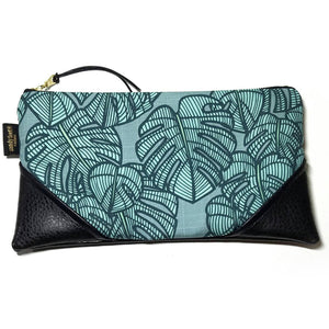 Large Teal Monstera Zipper Clutch