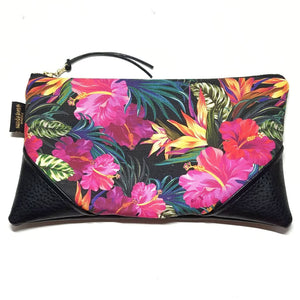 Large Garden Happiness Black/Black Zipper Clutch