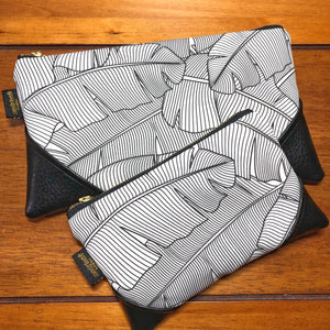 Mini Black and White Banana Leaf x Black Zipper Clutch