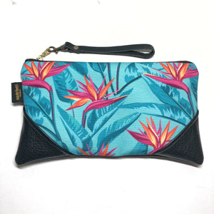 Large Bold Turquoise Bird of Paradise x Black Zipper Clutch