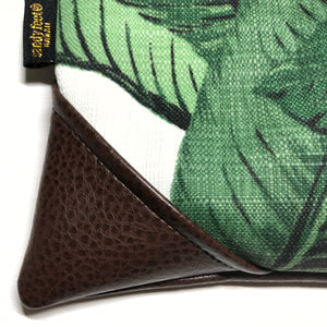 Large Tropical Banana Leaf Zipper Clutch