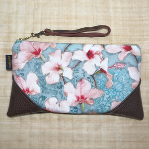 Large Painted Hibiscus Zipper Clutch