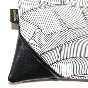 Large Black and White x Black Banana Leaf Zipper Clutch