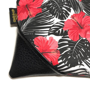 Large Hibiscus & Monstera Zipper Clutch