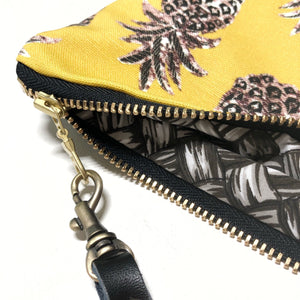 Mini Mustard Pineapple Zipper Clutch