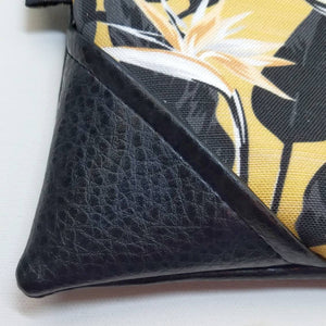 Large Mustard Bold Bird of Paradise Zipper Clutch