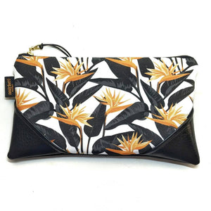 Large Mustard/White Bold Bird of Paradise Zipper Clutch