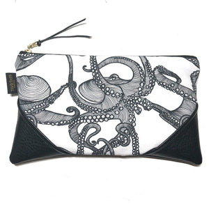 Large White Tako (Octopus) Zipper Clutch