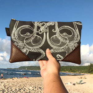 Large Black Tako (Octopus) Zipper Clutch