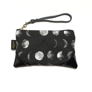 Mini Blackout Mahina Moon Phase Zipper Clutch