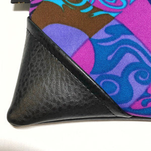 Vintage Hawaii Blue & Purple Large Zipper Clutch