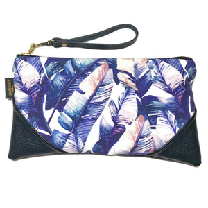 Large Watercolor Purple Banana Palm Zipper Clutch
