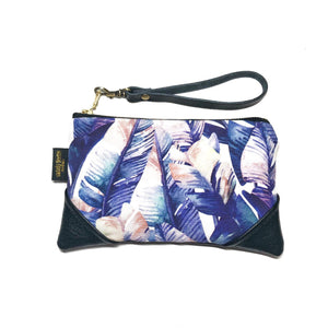 Mini Watercolor Purple Banana Palm Zipper Clutch
