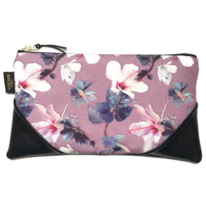 Large Hibiscus & Butterfly Zipper Clutch