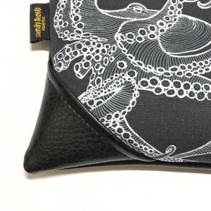 Large Blackout Black Tako (Octopus) Zipper Clutch