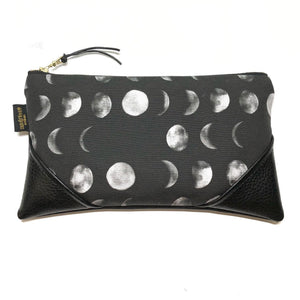 Large Blackout Mahina Moon Phase Zipper Clutch